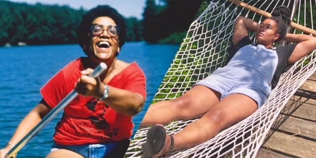 A collage of Audre Lorde, who is canoeing, and the author of the column, who is resting in a hammock during the summer.