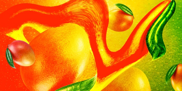 juicy mango patterns on a background of dewy mango skin, surrounded by a collage of liquified mango shapes
