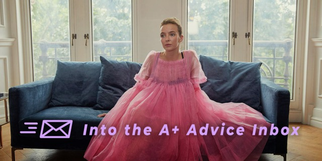 Villainelle from the show Killing Eve sits on a couch in a fluffy pink dress, receiving therapy