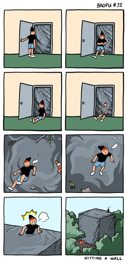 Image description: A character opens a door in a room to find a wall of stone seemingly blocking it; they try to push and shove against it before collapsing onto the ground with their back up against it. In the next panel, they begin to melt backwards into the stone, with only their face and limbs still showing; they float through the stone, emerging on the other side to find they passed through an enormous stone cube many times bigger than the house itself they had been trying to exit.