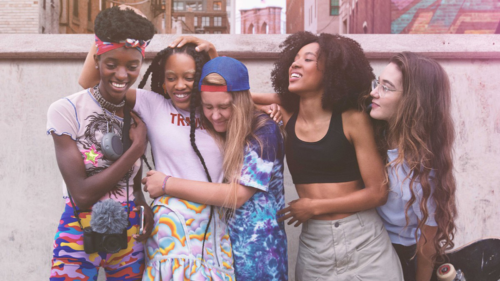 """The skater girls of """"Betty"""" all hug each other. Young, hot, some are queer."""