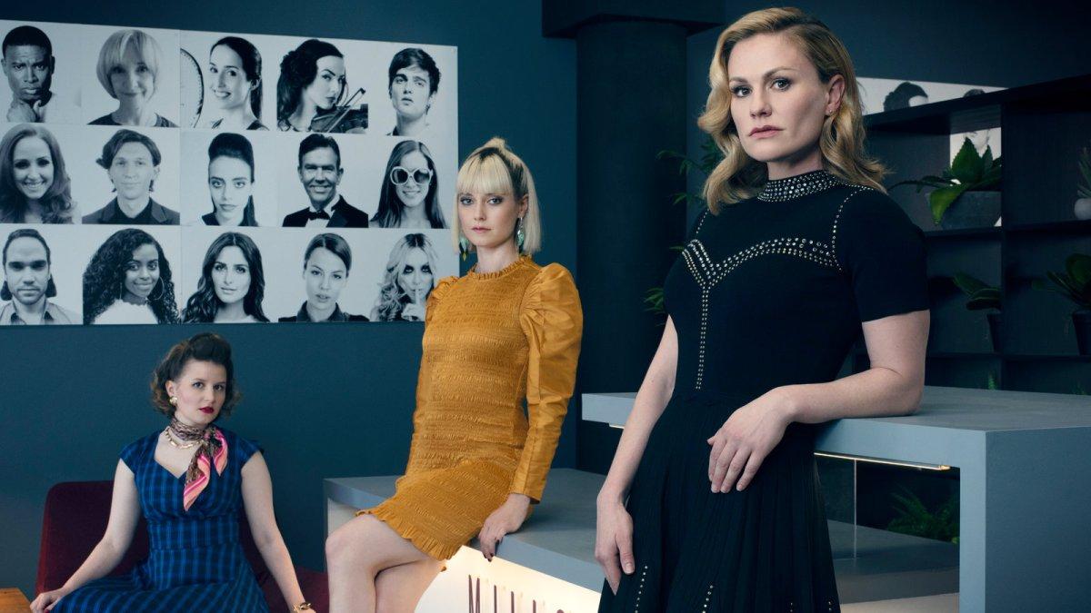 still of three women in a severe office