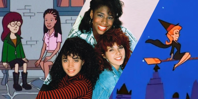 A collage of three TV shows from Shelli's list. Left to Right: Daria and Jodie from Daria, Denise and Jaleesa and Maggie from Different World, and Samantha from Bewitched.