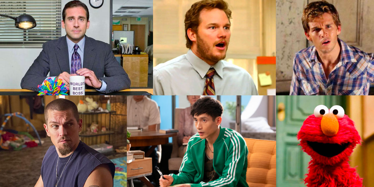 Six images in a collage. Michael Scott from The Office, Andy Dwyer from Parks and Recreation, Jason Stackhouse from True Blood, Kevin from Shameless, Jason from The Good Place and also Elmo, a red puppet