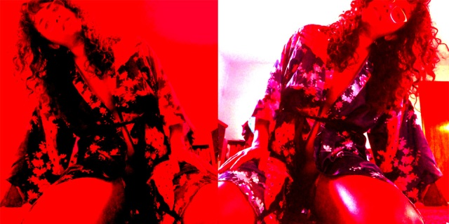 mirror image split screen of a femme of color sitting on their knees in a sexy floral robe, hair down, leaning to the right. there's a red treatment over the photo for a little extra erotic style.