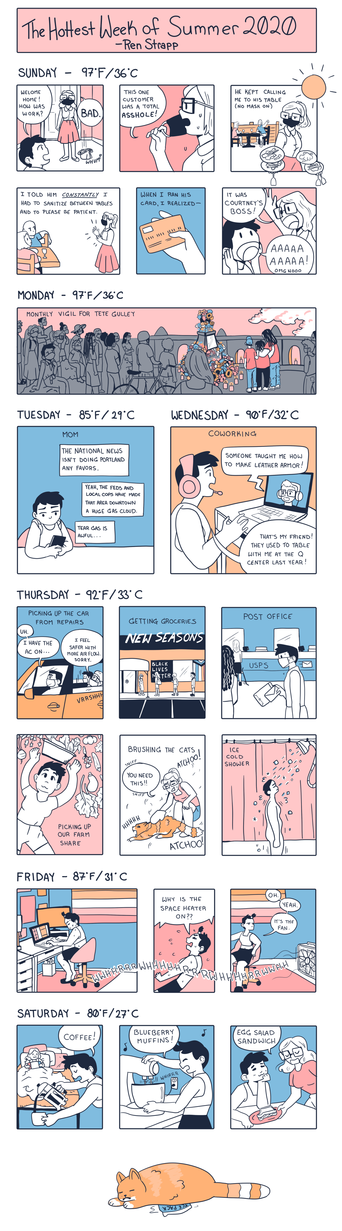 """A cartoon with the palette of peachy-pink, sky blue, and tangerine orange. The comic depicts a fictional week in Portland known as """"The Hottest Week of Summer 2020."""" Queers in the service industry are forced to serve customers without masks, there's a vigil for black lives who have been murdered by the police, the Portland protests continue, fans continue to blow around hot air in record high temperatures, and a cat sleeps on an ice pack."""