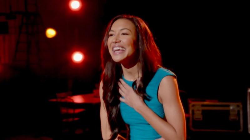 "Santana Lopez from Glee sings ""Don't Rain on My Parade"" in a beautiful tiny blue dress."