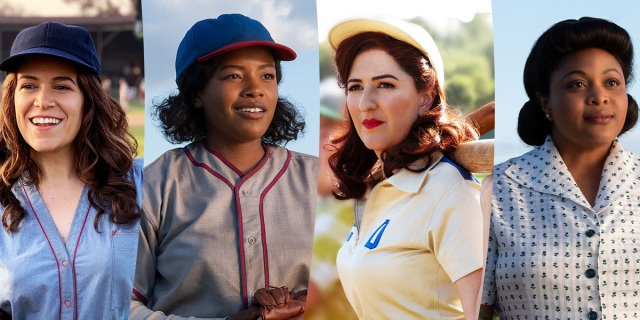 The cast of Amazon's new series A League of Their Own, based on the movie of the same name, dressed in costume. From Left to Right: Abbi Jacobson, Chanté Adams, D'Arcy Carden, and Gbemisola Ikumelo