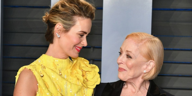 Holland Taylor and Sarah Paulson gaze into each other's eyes lovingly on the red carpet, back in the before times when we could all go outside and touch our loved ones.