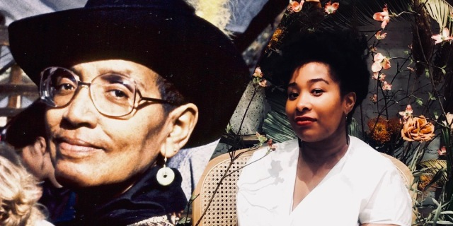 A collage of Audre Lorde looking directly into the camera with Jehan, the author, looking directly over her shoulder also at the camera. The color palette of the collage is warm like the sun, with yellows and oranges.
