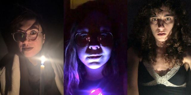 Feature image showing Nicole, Rachel, and Drew with lights under their chins. Spooky!