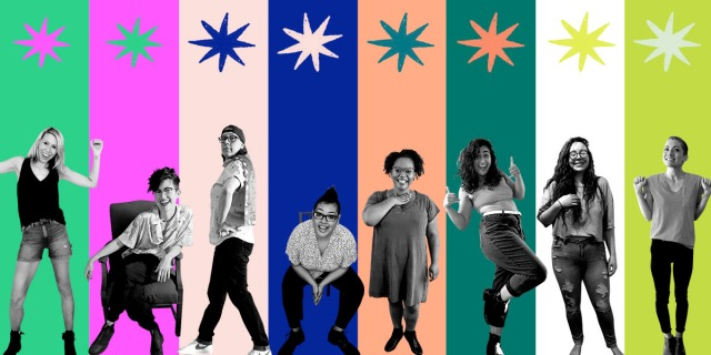 A collage of the Autostraddle senior staff members in black&white cut outs against a neon, multi-colored stripped background. From left to right Riese, Nicole, Heather, Kamala, Carmen, Sarah, Rachel and Laneia look hopeful, excited, a little silly, a little elated.