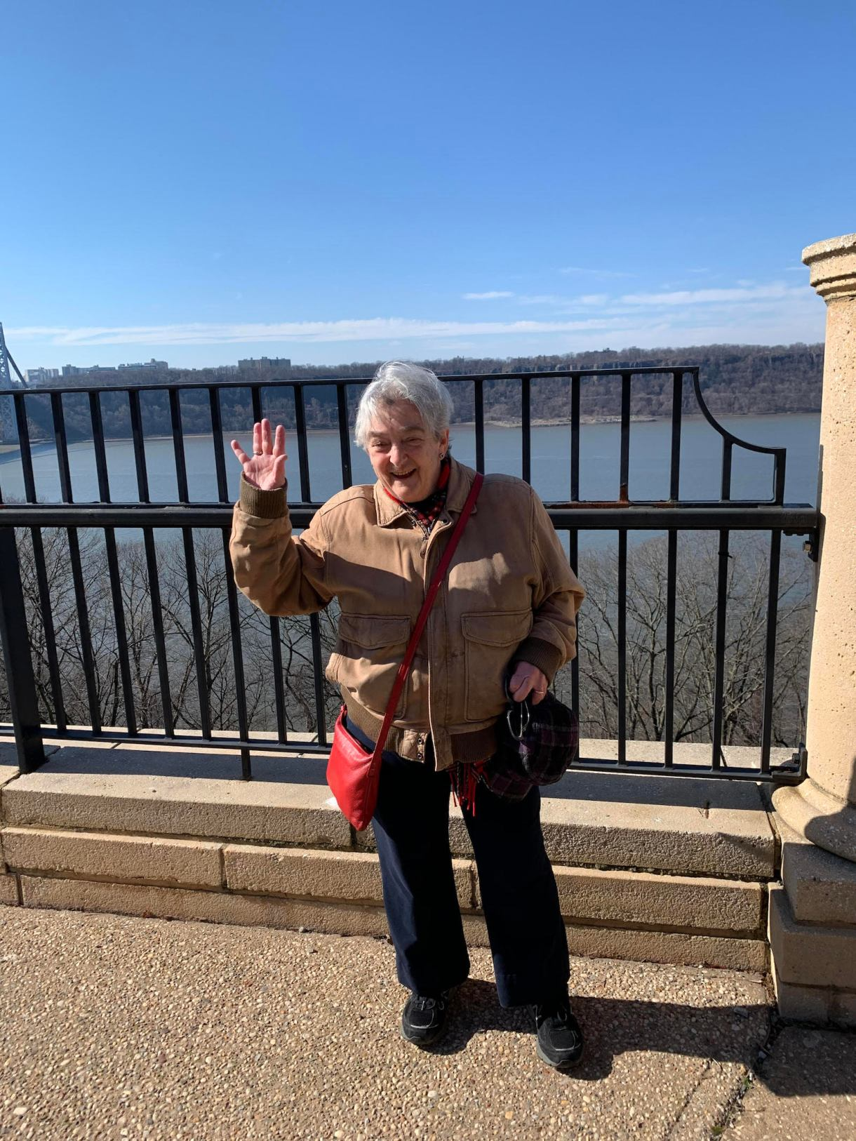 Miriam Frank, author of book on queers in the labor movement, poses in front of the Hudson River