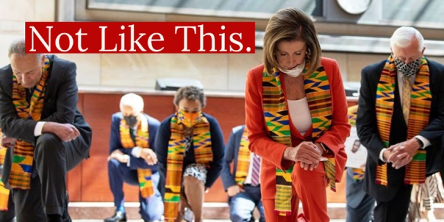 Nancy Pelosi and the house Democrats kneel on the House of Representative floor while wearing kente cloth, this is an example of performative allyship.