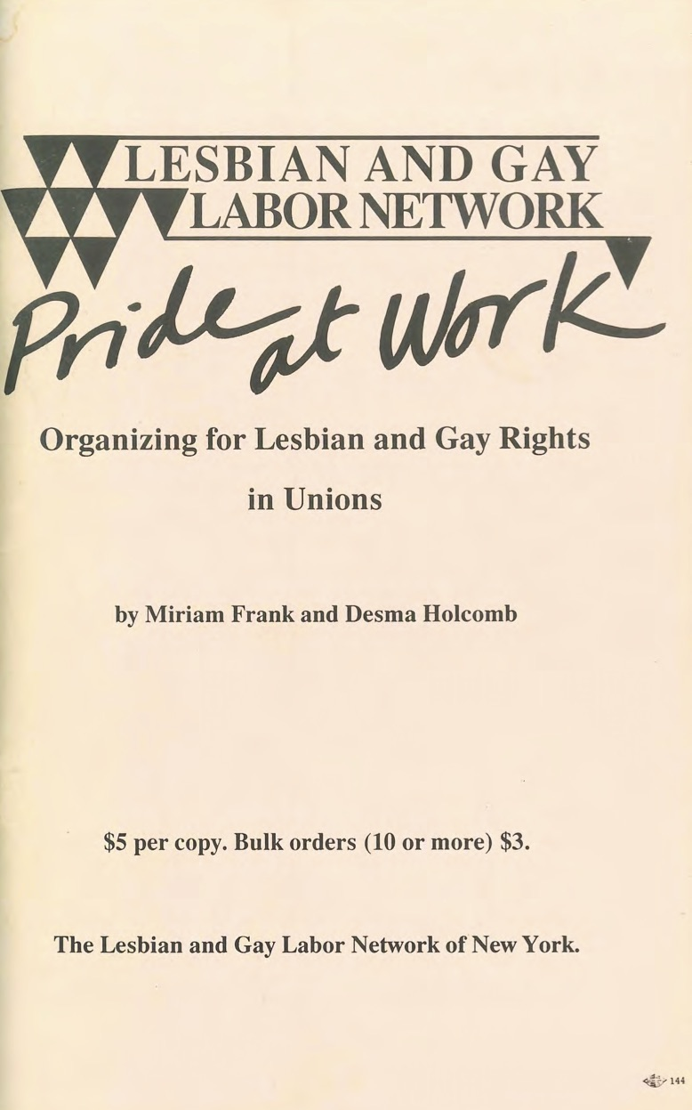 The cover page of Pride at Work: Organizing for Gay and Lesbian Rights in Unions, a 100-page booklet with historical examples and practical advice for organizing within unions