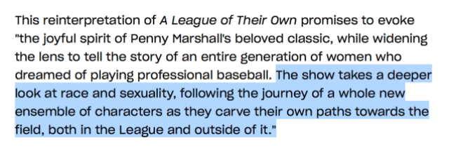 "A highlighted paragraph from the article describing Amazon's new television show, a reboot of A League of Their Own, which reads: ""The show takes a deeper look at race and sexuality."""