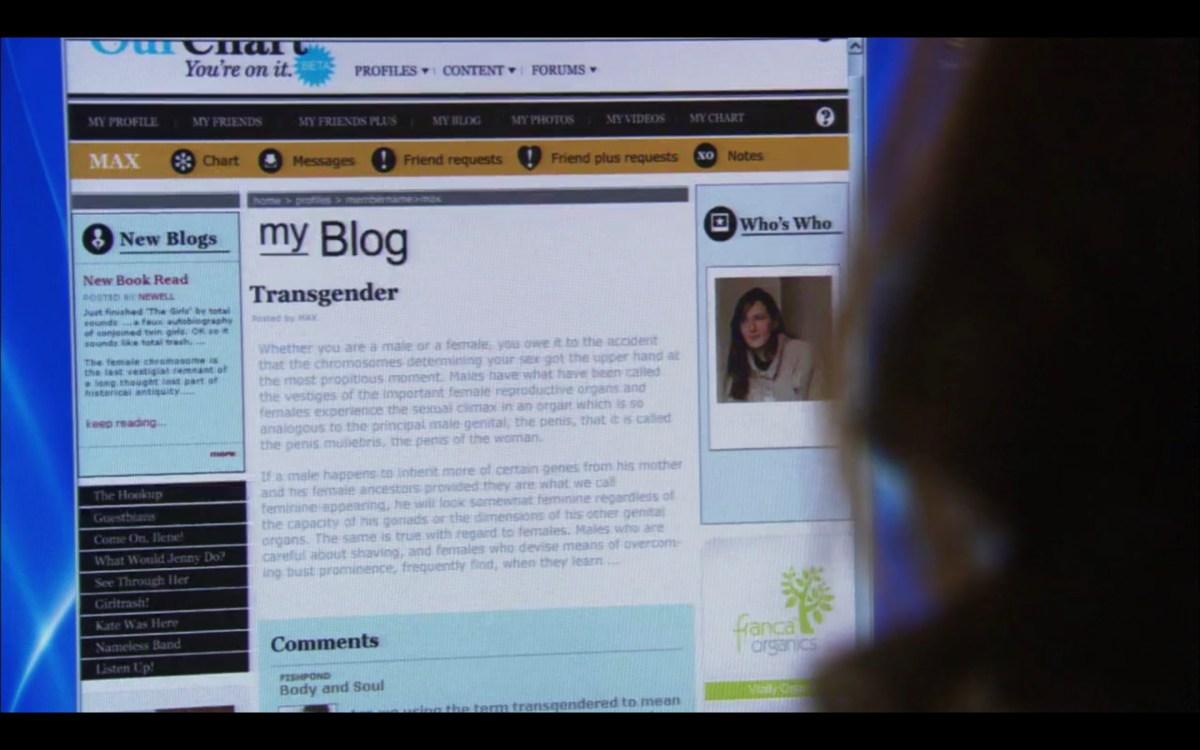 "a shot of Max's blog post on OurChart.com, entitled ""Transgender"""