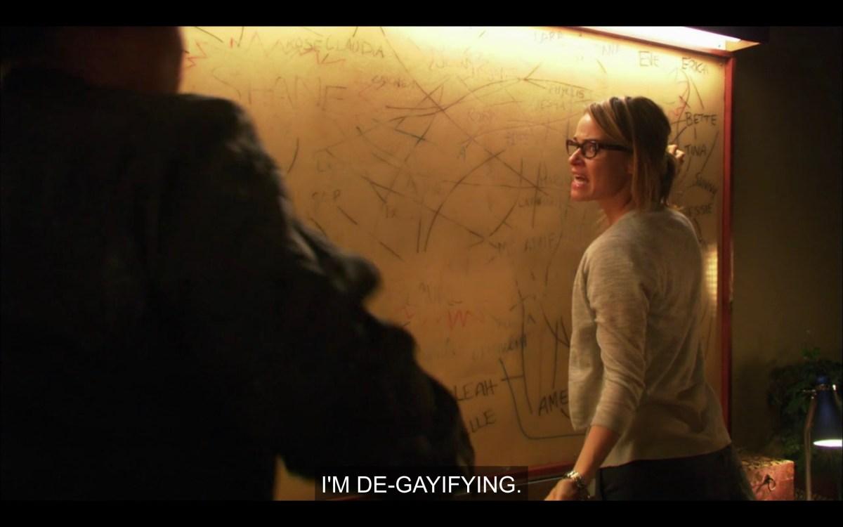 "Alice wiping the chart off her wall, saying to Tasha, ""I'm de-gayifying"""
