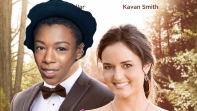 """A poster from a Hallmark movie is photoshopped to have Samira Wiley's face over the """"man"""" character. Hallmark lesbians forever!"""