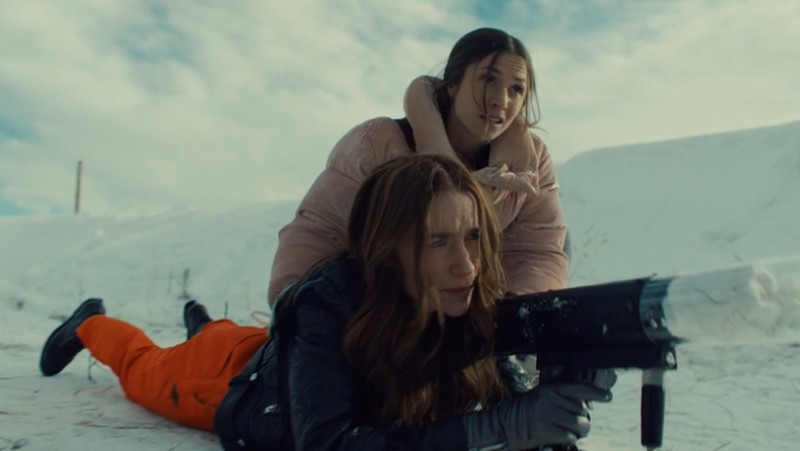 Earp sisters in the snow with a tshirt cannon