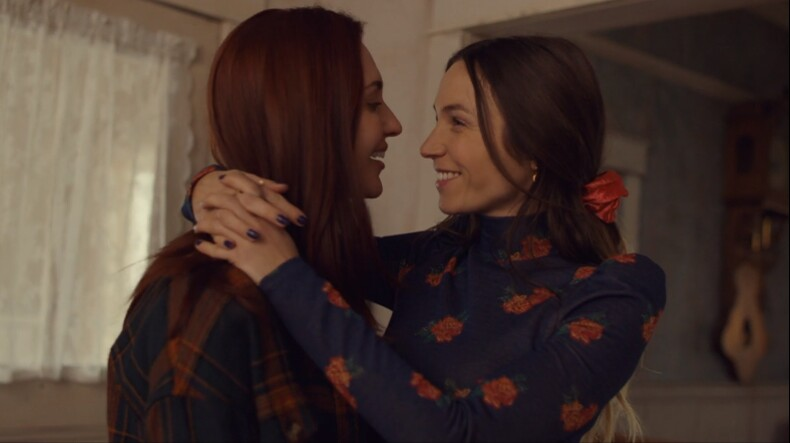 wayhaught smiles at each other