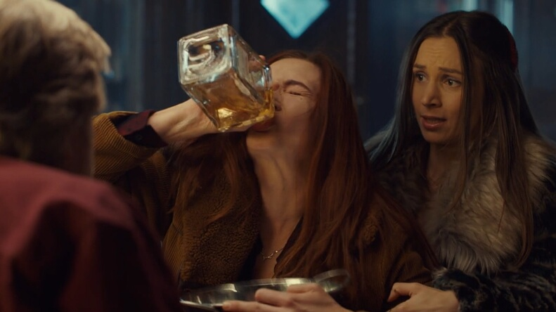 Nicole chugs booze