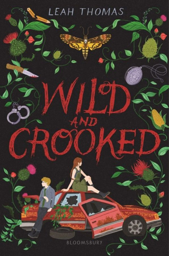 The Wild and Crooked cover art is dark, with a black background and blood red lettering. There are hand drawn images of leaves and flowers creeping from the sides and a broken down red car at the bottom. The car is topped by a queer girl in a green jumper and black boots.
