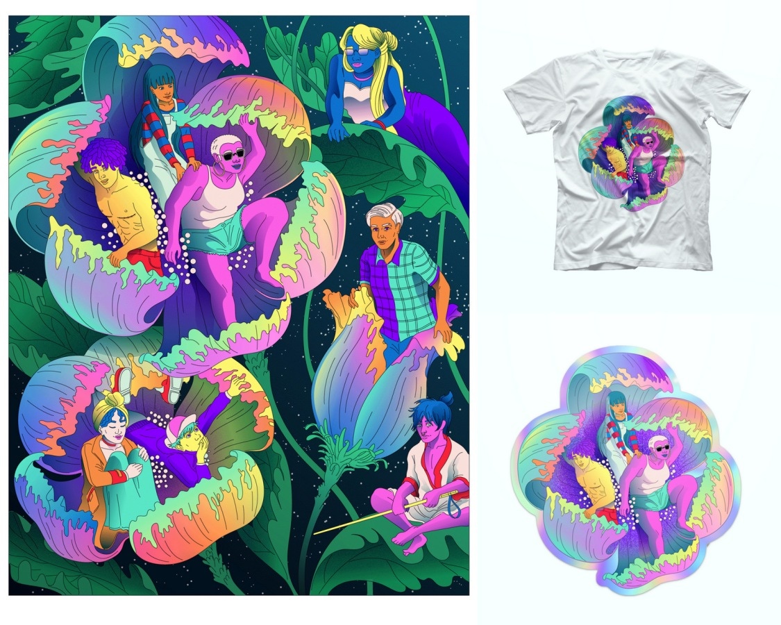 The Ari Liloan Collection has one art print, a short sleeved tee, and an iridescent die-cut sticker. The illustration shows queer people from various backgrounds and experiences emerging from opening blossoms against a night sky. The colors are bold and bright.