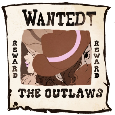 illustration: wanted poster featuring the narrator and the teacher — the poster says WANTED! Reward THE OUTLAWS""