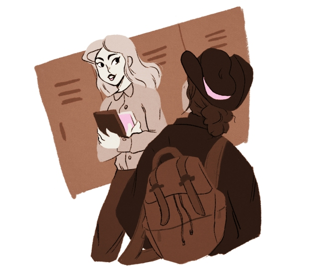 illustration: teacher smiling and passing narrator in the hallway