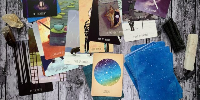 A collage of tarot deck cards.