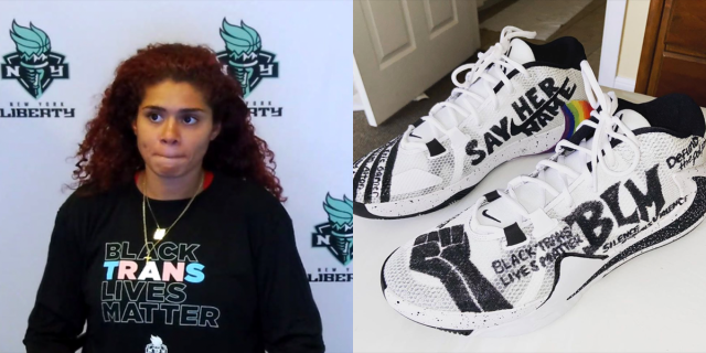 The New York Liberty's Amanda Zahui B wearing a Black Trans Lives Matter shirt, and a pair of Stefanie Dolson's sneakers designed with Black Lives Matter graphics.