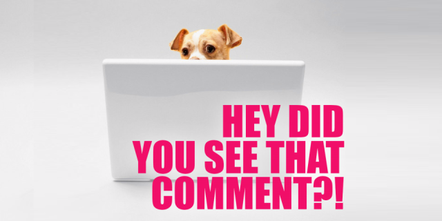 "A small, brown and white dog peeking over their laptop screen, with a caption that says ""Hey did you see that comment?!"""