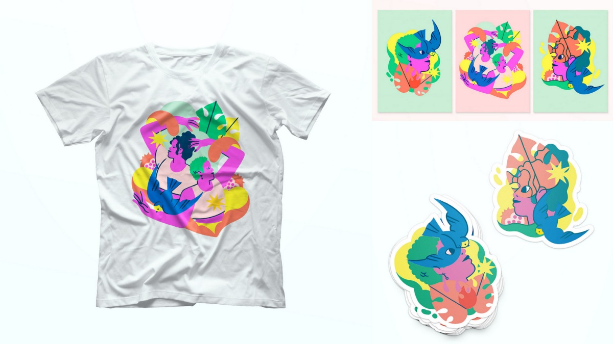 The Dia Pacheco Collection includes a white short-sleeved tee, three art prints, and two die-cut stickers. The illustrations show two queer humans surrounded by large leaves, fruit, and birds. These are colorful in a soft kind of way.