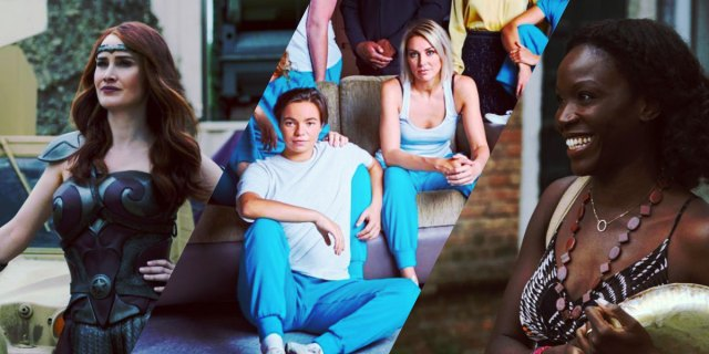 "Queen Maeve in her superhero outfit in ""The Boys,"" Alley and a new masc lesbian character in Wentworth wearing blue prison pants and white tank tops, Jenny in ""We Are Who We Are,"" smiling at someone off-camera"