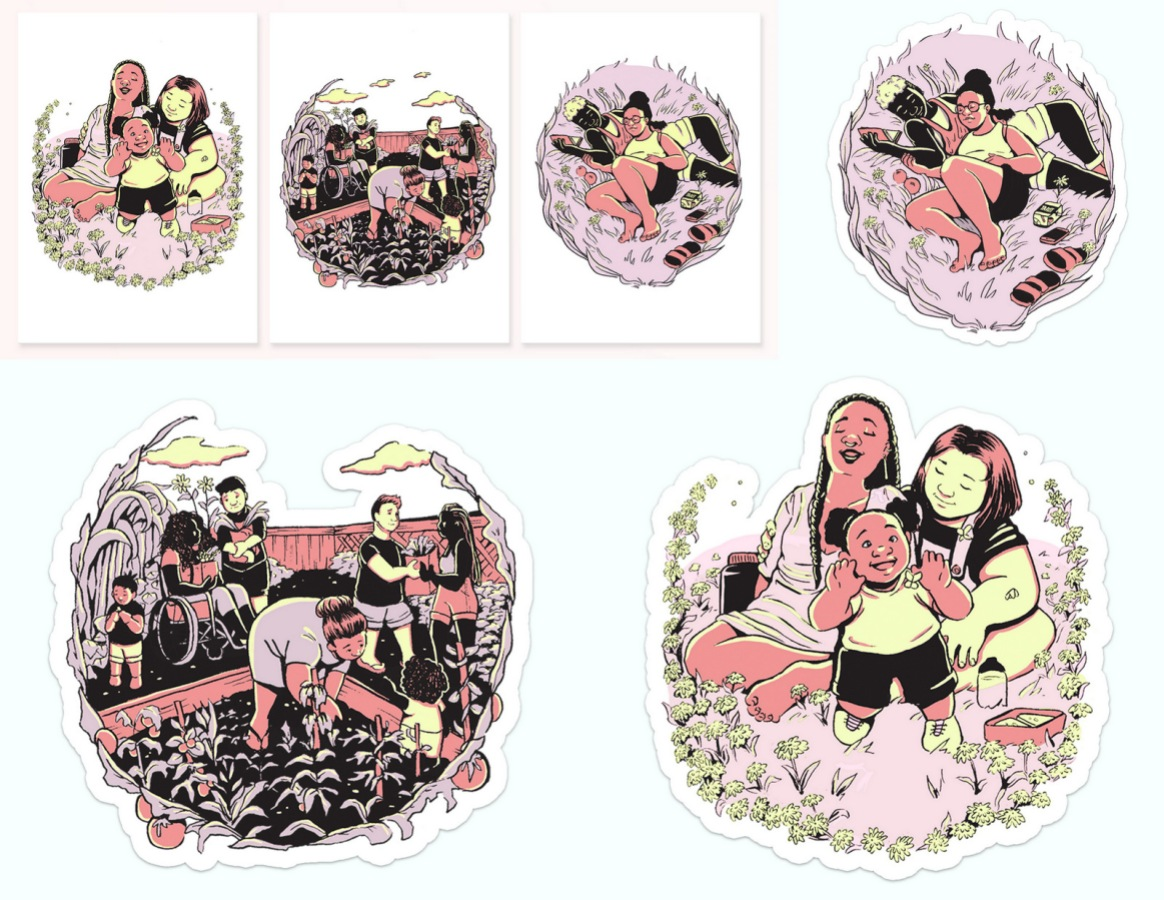 "The Emma Rust Collection includes die-cut stickers and 5"" x 7"" art prints. The illustration shows us three depictions of queer chosen family, including a gardening co-op, a family with a small child, and two people enjoying each other's company. The colors are muted and feel like late summer nights."