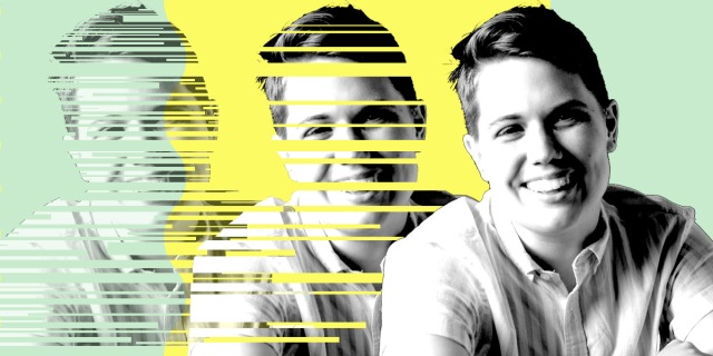 A graphic of a three black and white portraits of Adrian, a smiling white nonbinary person with short hair, against a bright yellow and green background. The portrait on the far right is whole, while the two graphics on the left are increasingly faded and glitched as you move left.
