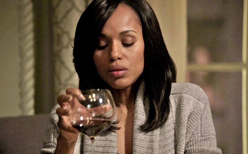 """Olivia Pope from """"Scandal"""" is alone in her apartment, staring lustfully at the largest glass of wine you have ever seen in your life."""