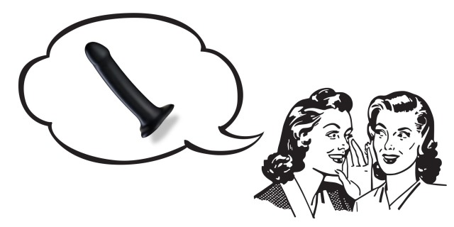 Two illustrated women whispering to each other; above their heads is a speech bubble containing an image of a black silicone dildo.