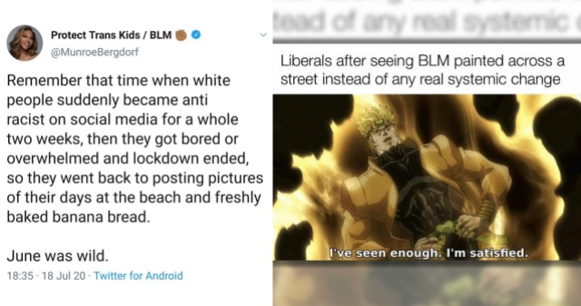 A collage of a tweet from model and activist Munroe Bergdof about the lack of longterm allies in the Black Lives Matter movement and a meme that pokes fun at superficial, as opposed to systematic, change.