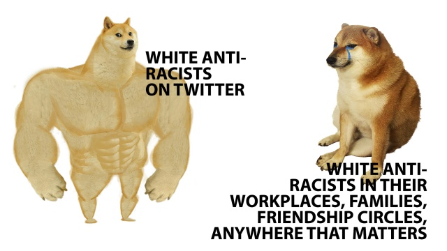 """A meme of a cut dog's face on an over muscled body that says """"white anti-racists on twitter"""" verses the same dog's face, now crying, that says """"white anti-racists"""" in their workplaces, families, and anywhere that matters."""""""