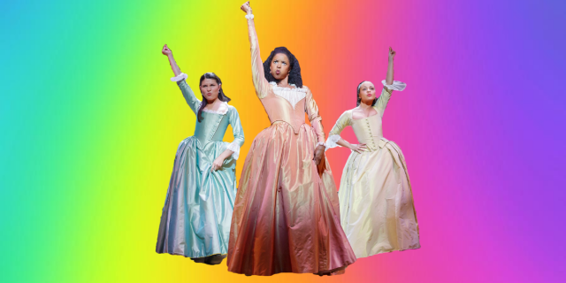 "Ari's homemade graphic design (They're working on building their skills!) of the Schuyler sisters from Hamilton, posed in their infamous ""Werk!"" line with their right hands above their head, snapping in air, against a neon rainbow background."