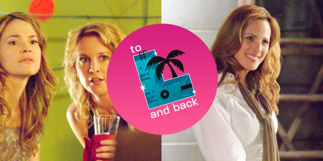 "Image is split in two with the ""To L and Back"" logo in the middle. On the left, Alice and Tina are at a party at The Planet. On the right, Jodi is in her loft, smiling."