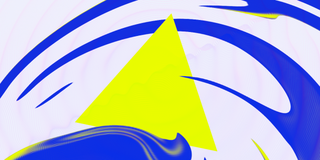 An abstract image of a neon yellow triangle against a field of blue swirls and ripples.