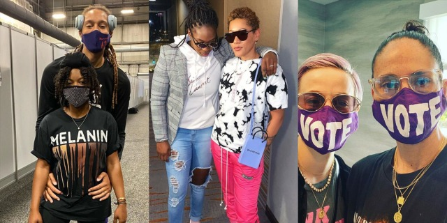 A collage of three WNBA Wubble couples. Left to right: Brittney Griner and Cherelle Griner, Chelsea Gray and Tipesa Mercedes, and Sue Bird and Megan Rapinoe.