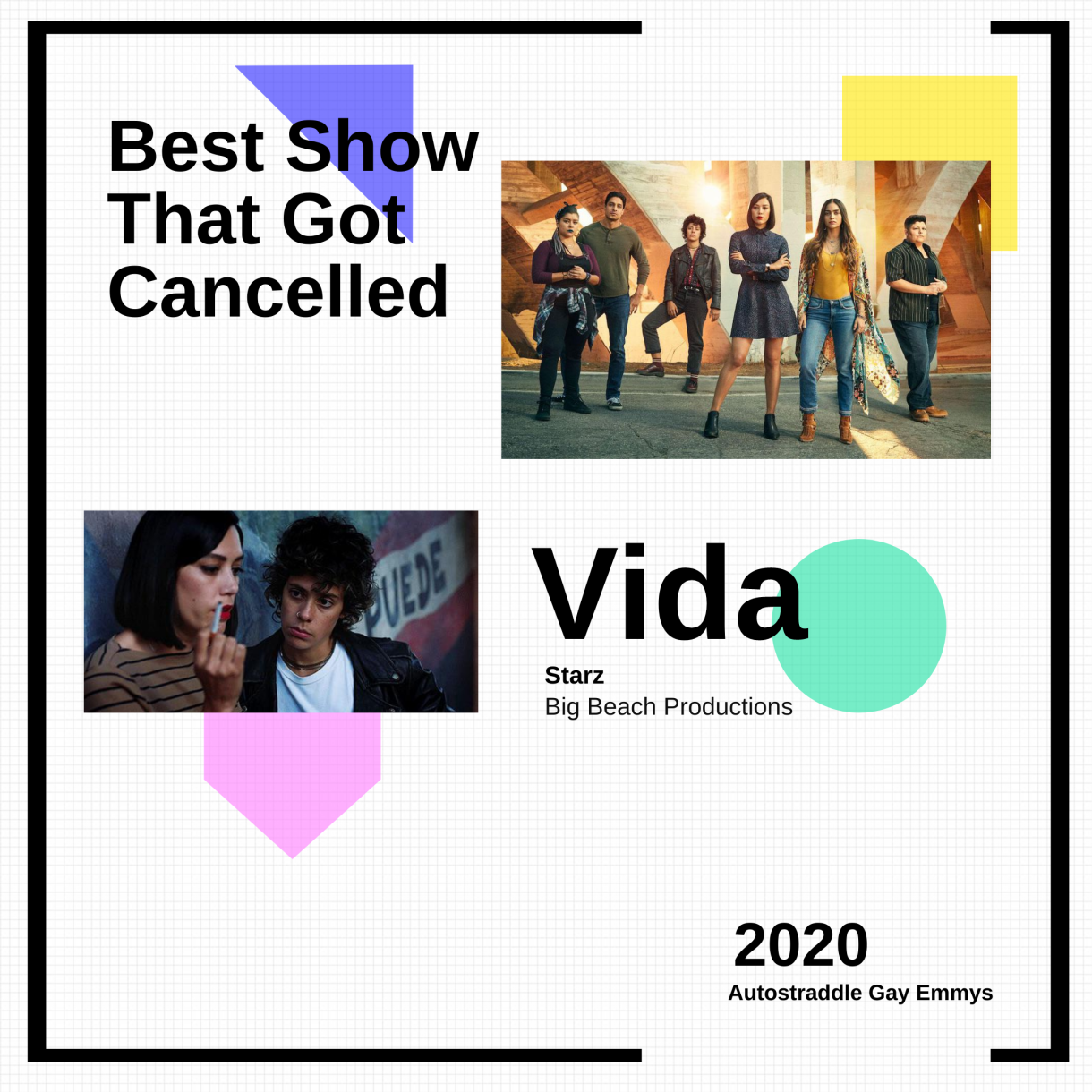 "Graphic announcing winner of ""Best Show that Got Cancelled,"" Vida"