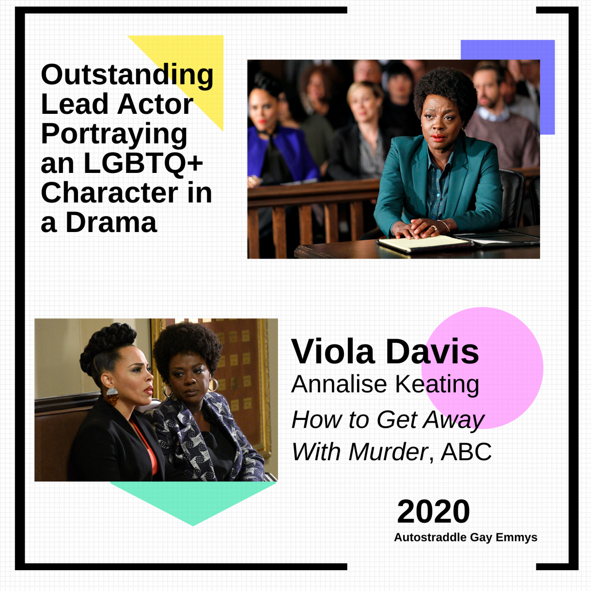 Graphic announcing Outstanding Lead Actor Portraying an LGBTQ+ Character in a Drama winner is Viola Davis as Annalise Keating, How to Get Away With Murder