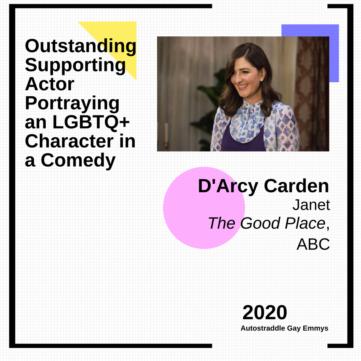 Colorful Graphic Announcing Outstanding Supporting Actor Portraying an LGBTQ+ Character in a Comedy: D'Arcy Carden, Janet, The Good Place with a picture of Janet