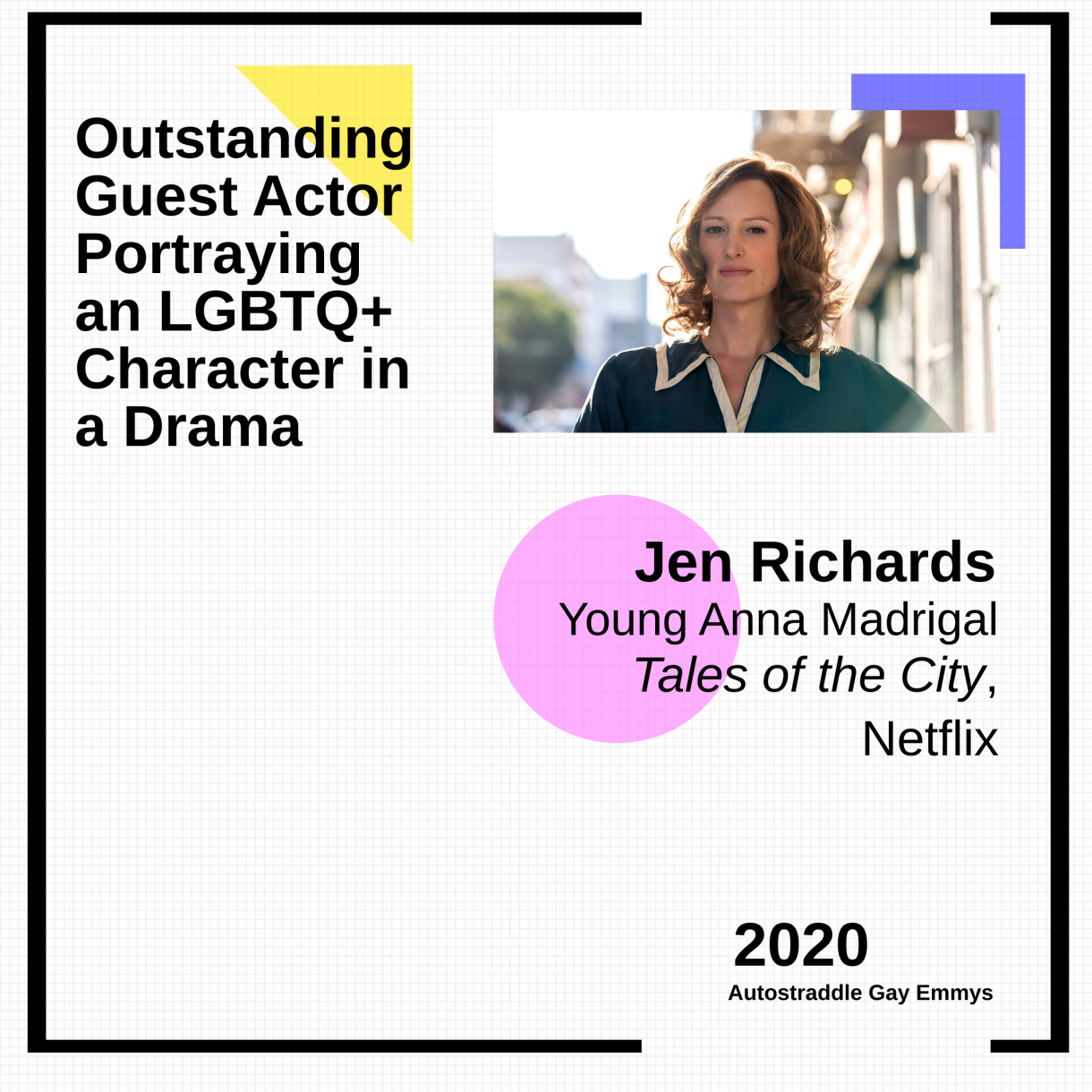 Graphic announcing Outstanding Guest Actor playing an LGBTQ+ Character in a Drama Series: Jen Richards as Young Anna Madrigal, Tales of the City