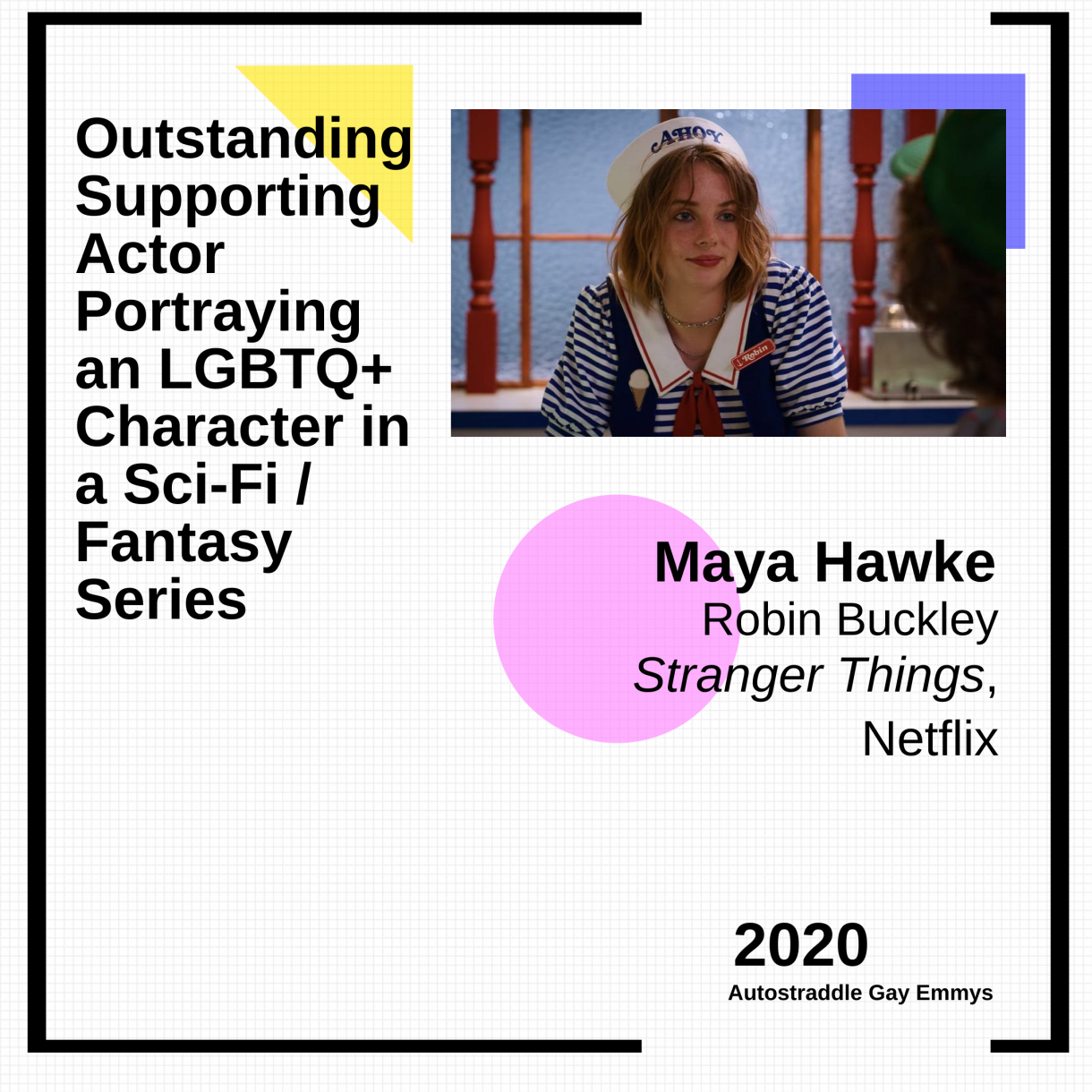 Graphic announcing Outstanding Supporting Actor Playing an LGBTQ+ Character in a Sci-Fi/Fantasy Series: Maya Hawke as Robin Buckley, Stranger Things. Pic of Robin in a striped t-shirt and sailor hat.